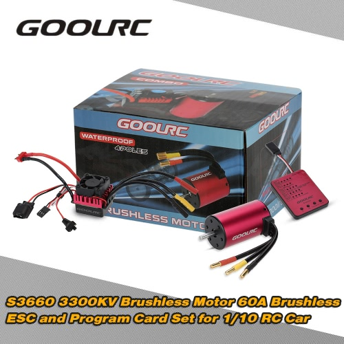 GoolRC S3660 3300KV Sensorless Brushless Motor 60A Brushless ESC and Program Card Combo Set for 1/10 RC Car Truck