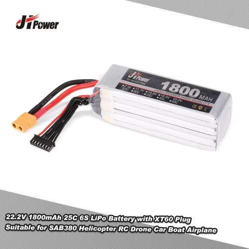 JHpower 22.2V 1800mAh 25C 6S LiPo Battery with XT60 Plug for SAB380 Helicopter RC Drone Car Boat Airplane
