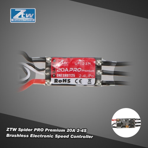 ZTW Spider PRO Premium 20A OPTO 2-4S LiPo Battery Brushless ESC Electronic Speed Controller with Blheli Firmware for F450 F550 RC Drone Muticopter