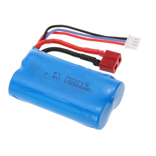 Batterie de 7.4V 1500mAh avec prise T pour FEIYUE FY-03 Wltoys 12428 RC Car