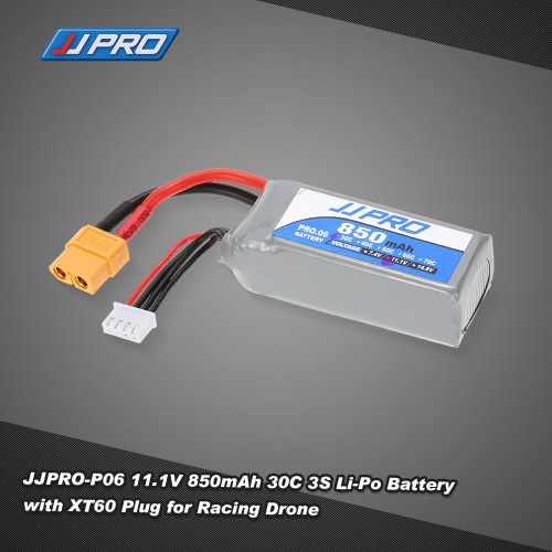JJRC JJPRO 11.1V 850mAh 30C 3S Li-Po Battery with XT60 Plug for 120mm 130mm H150 RC Quadcopter Mini Racing Drone