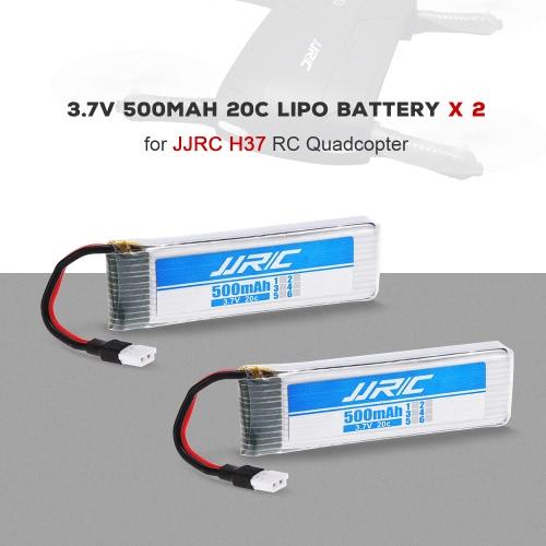 2個JJRC H37 RCクワッドローターのためのオリジナルJJRC 3.7Vシティ500mAh 20Cリポバッテリー