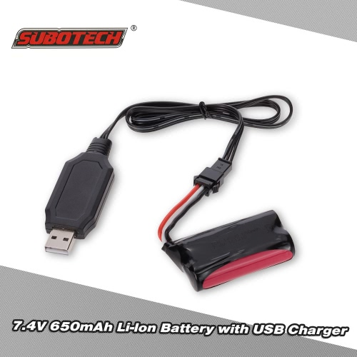 SUBOTECH 7.4V 650mAh Li-lon Battery with USB Charger for SUBOTECH BG1510 BG1511 RC Car
