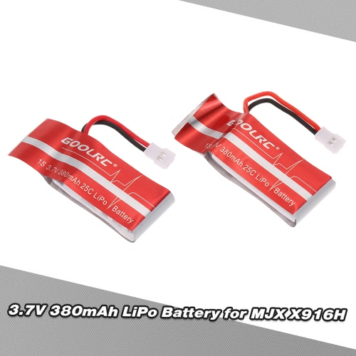 2pcs GoolRC 3.7V 380mAh 25C LiPo Battery for MJX X916H X906T FPV Quadcopter