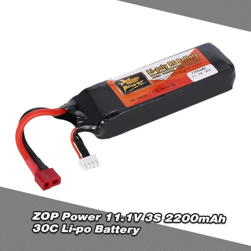 ZOP Power 11.1V 3S 2200mAh 30C Li-po Battery with T Plug for RC Drone Quadcopter Car Boat Airplane 450 Helicopter