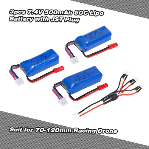 3pcs 7.4V 500mAh 50C Lipo Battery with JST Plug for EMAX Babyhawk Armor 67 XF90 Quadcopter 70-120mm Racing Drone