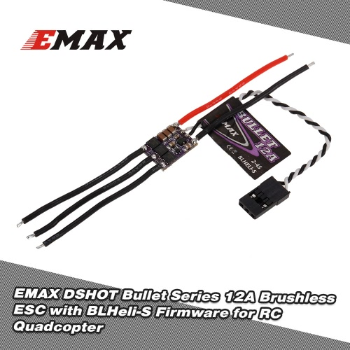 EMAX 12A Brushless ESC Bullet Series BLHeli-S Dshot 2-4S Electric Speed Controller for 88 90 100 FPV Racer Quadcopter