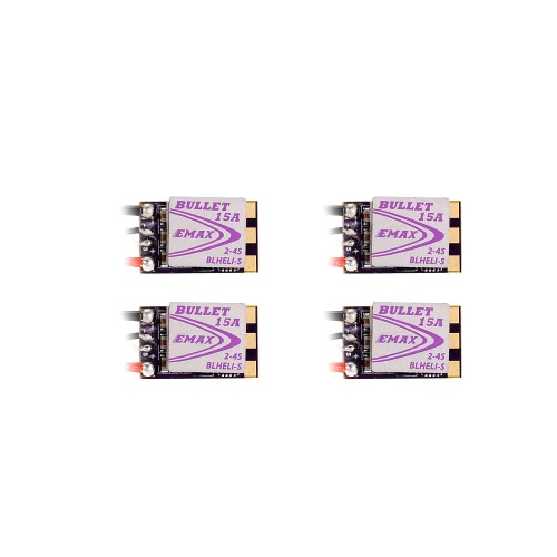 4Pcs EMAX 15A Brushless ESC Bullet Series BLHeli-S Dshot 2-4S Electric Speed Controller for 88 90 100 FPV Racer Quadcopter