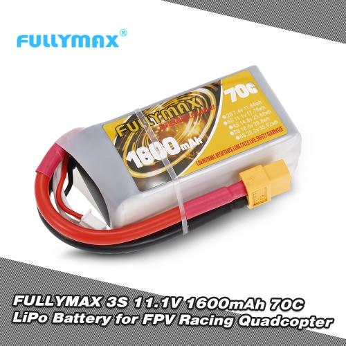 FULLYMAX 3S 11.1V 1600mAh 70C High Rate XT60 Plug LiPo Battery for QAV250 H210 LS180 FPV Racing Quadcopter RC Car Boat