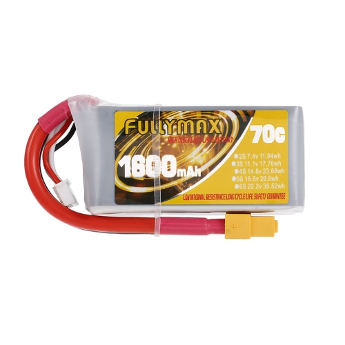 FULLYMAX 3S 11.1V 1600mAh 70C High Rate XT60 Plug LiPo Battery for QAV250 H210 LS180 FPV Racing Quadcopter RC Car Boat