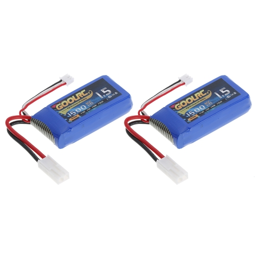 2pcs GoolRC 7.4V 1500mAh 30C Mini TAMIYA Plug LiPo Battery for Feilun FT009 GC001 RC Boat