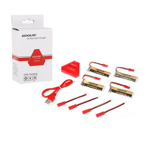TOMTOP / 4pcs GoolRC 500mAh 3.7V 25C JST Connector LiPo Battery with 4 in 1 USB Charger for UDI U818A WLTOYS V959 V969 V979 RC Quadcopter