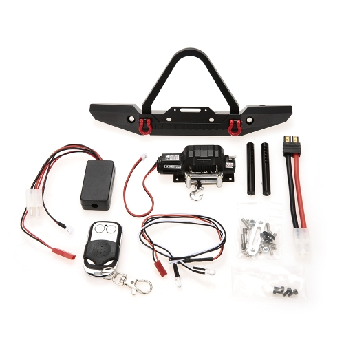 Metal Front Bumper Bright LED Lampada Winch Controller e ricevitore Kit per 1/10 TRX-4 RC Crawler Off-Road Climbing Car