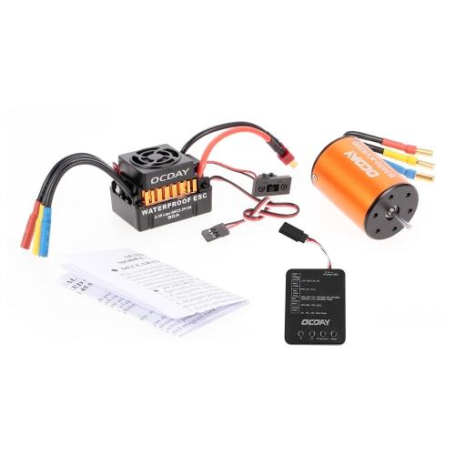 OCDAY Impermeabile 60A Brushless Car Controllo elettronico della velocità ESC + B3650 5200KV 4P Sensorless Motorless Brushless + Scheda di programmazione