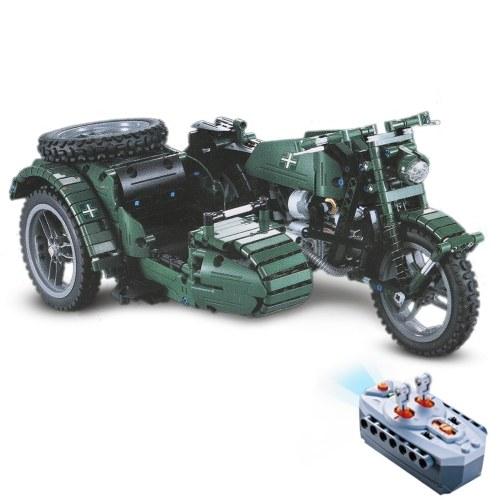 DOUBLE E C51021W 629 PCS Building Blocks Вторая мировая война Военный мотоцикл RC Toy