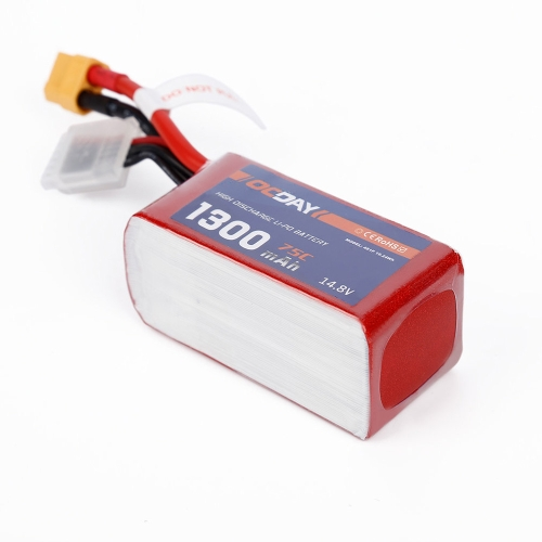 OCDAY 4S 14.8V 1300mAh 75C High Rate LiPo Battery XT60 for QAV180 220 250 RC FPV Racing Quadcopter Drone