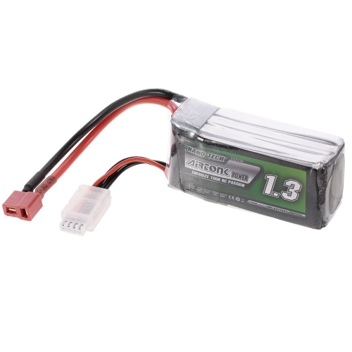 11.1V 1300mAh 60C 3S Rechargeable Li-Po Battery with T Plug for RC Racing Drone Quadcopter Helicopter Airplane Car Truck
