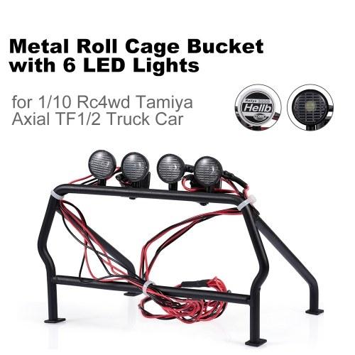 Benna portarotolo in metallo con 6 luci a LED per camion 1/10 Rc4wd Tamiya Axial TF1 / 2