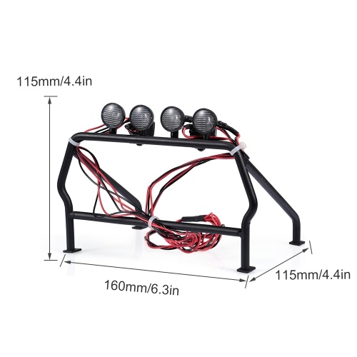 Metal Roll Cage Bucket with 6 LED Lights for 1/10 Rc4wd Tamiya Axial TF1/2 Truck Car