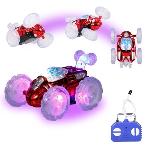 Carro de acrobacias com controle remoto de 360 ° de tombamento brinquedo de carro RC com luzes LED piscantes para crianças meninos e meninas