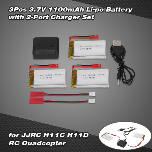 3Pcs 3.7V 1100mAh Li-po Battery with 2-Port Charger Set for JJRC H11C H11D RC Quadcopter
