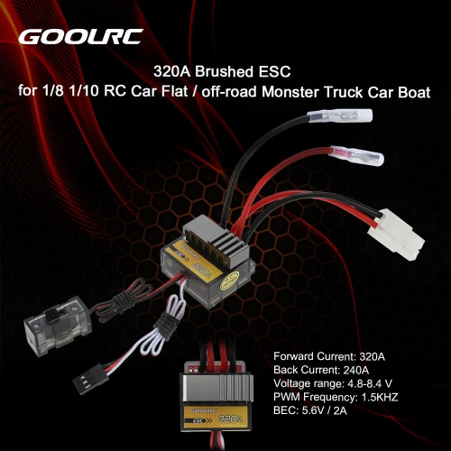 Original GoolRC 320A Brushed ESC Speed Controller /w Reverse for 1/8 1/10 RC Car Flat / off-road Monster Truck Car Boat