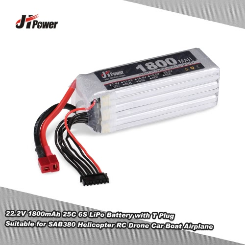 JHpower 22.2V 1800mAh 25C 6S LiPo Battery with T Plug for SAB380 Helicopter RC Drone Car Boat Airplane