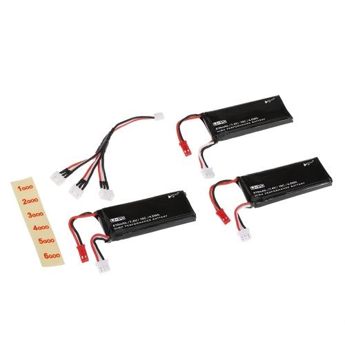 3psc H502S-001 Batterie Lipo 6Cm 6Cm de 6Vm avec câble de recharge 3 en 1 pour Hubsan X4 H502S H502E RC Quadcopter