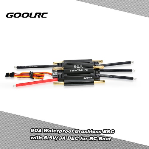 GoolRC 90A Waterproof Brushless Electronic Speed Controller ESC with 5.5V/3A BEC for RC Boat