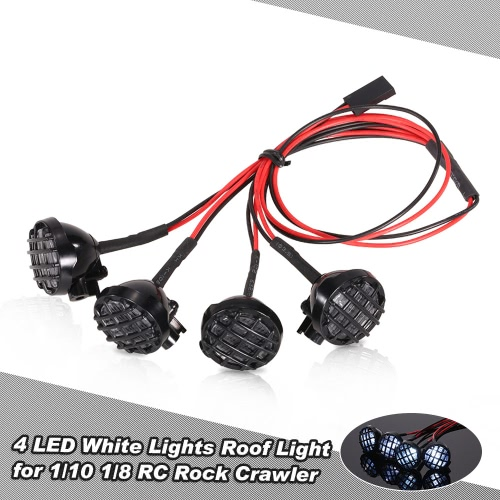 4 LED White Lights with Lampshade Roof Light Search Lamp for 1/10 1/8 Traxxas HSP Redcat RC4WD Tamiya Axial SCX10 D90 HPI RC Rock Crawler