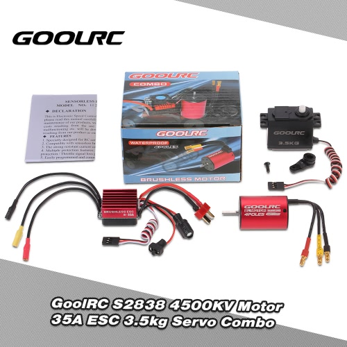 GoolRC S2838 4500KV Brushless Motor 35A ESC 3.5kg Servo Combo Set for 1/12 1/14 RC Car