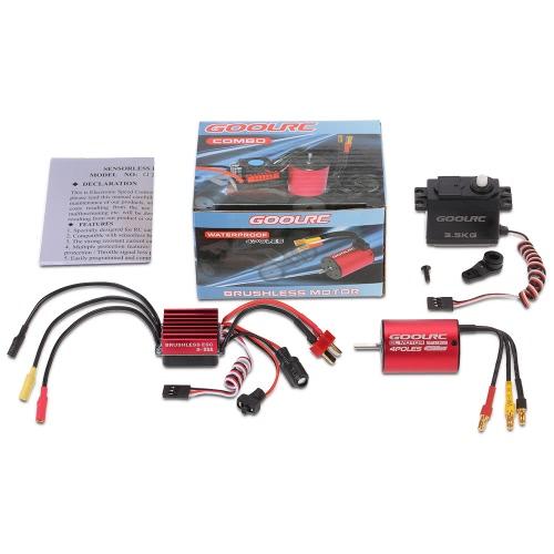 GoolRC S2838 4500KV sin cepillo motor 35A ESC 3.5kg servo combinado conjunto para 1/12 1/14 RC coche