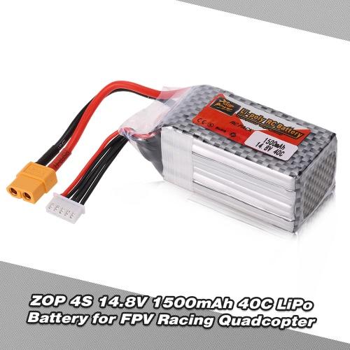 ZOP Power 4S 14.8V 1500mAh 40C XT60 Plug LiPo Battery for QAV250 H210 FPV Racing Quadcopter RC Car Boat