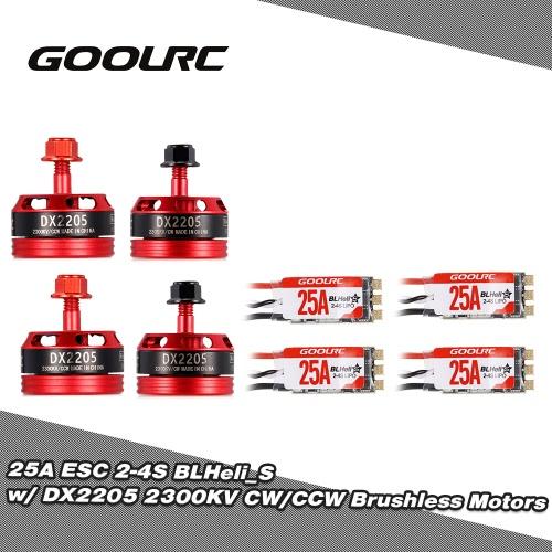 GoolRC 25A ESC BLHeli_S Oneshot125 Multishot and DX2205 2300KV Brushless Motor Kit for Racing Quadcopter