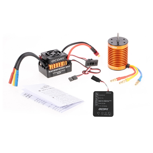 OCDAY Waterproof 60A Brushless Car Electronic Speed Control ESC + 10T 3930KV 4P Sensorless Brushless Motor + Programming Board
