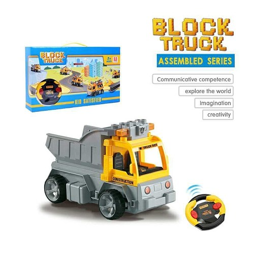 18Pcs DIY Building Blocks Car 1/18 Infrared Remote Control RC Car Carrier Vehicle Toy Christmas Present Gift for Kids