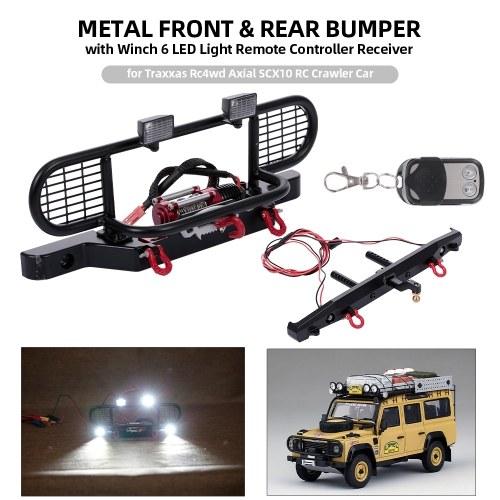 Paraurti anteriore e posteriore in metallo con ricevitore per telecomando a 6 LED con argano per Traxxas Rc4wd Axial SCX10 RC Crawler Car