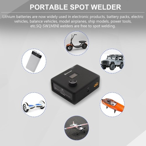 SEQURE SQ-SW1 Spot Welder Portable DIY Welding Machine OLED Display with Nickel Sheet Foot Pedal Automatic Manual Modes 10-14V Input Voltage for RC Mo