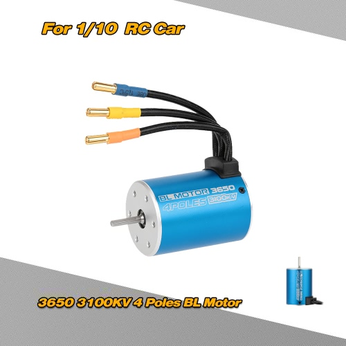 3650 3100kv 4 poles sensorless brushless motor for 1/10 rc car