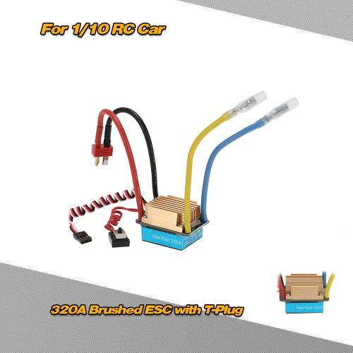 Impermeabile 320A spazzolato ESC regolatore di velocità elettronico con 5V/3A BEC T-Plug per 1/10 RC auto