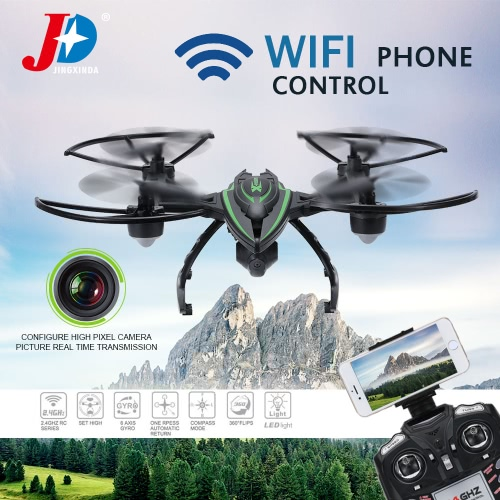 Original JXD 510W 2.4G 4CH 6-Axis Gyro Wifi FPV 0.3MP Camera RTF RC Quadcopter with One-key Return CF Mode 3D-flip High Hold Mode Function