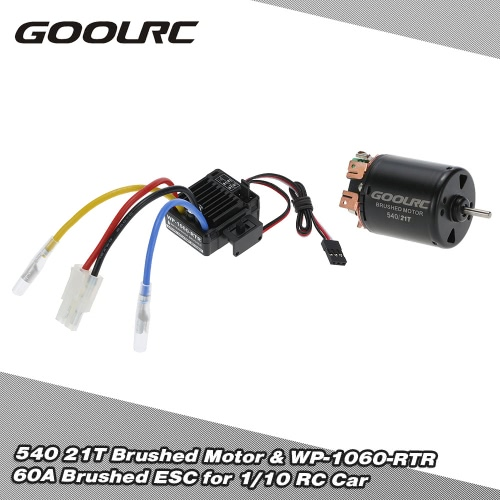 GoolRC 540 21T 4 Poles Brushed Motor and WP-1060-RTR 60A Waterproof Brushed ESC Electronic Speed Controller with 5V/2A BEC   for 1/10 RC Car