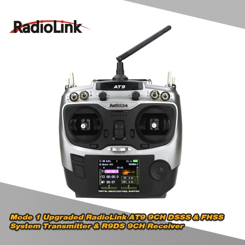 Original Mode 1 Upgraded RadioLink AT9 2.4G 9CH DSSS & FHSS Transmitter & R9DS 9CH Receiver for RC Helicopter Airplane