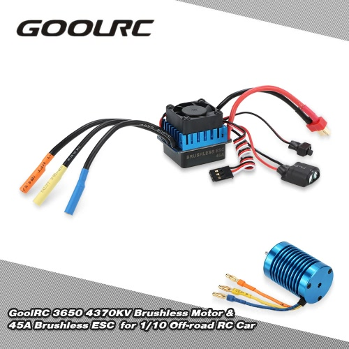 Original GoolRC 3650 4370KV 4P Sensorless Brushless Motor & 45A Brushless ESC for 1/10 Off-road RC Car