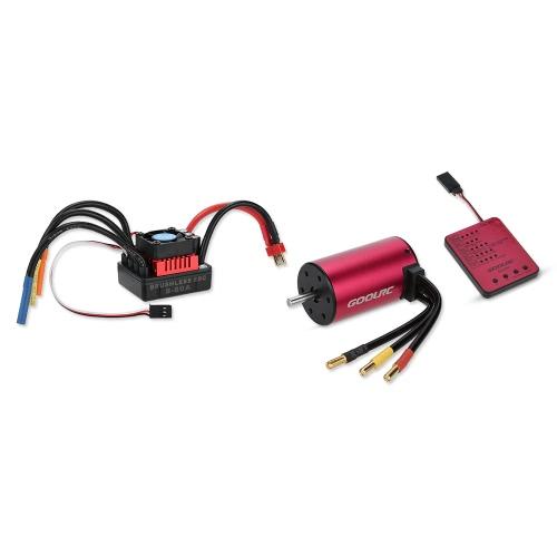 GoolRC S3660 3800KV Moteur brushless sans capteur 80A Ensemble brushless ESC et Program Card Combo pour camion voiture 1/10 RC