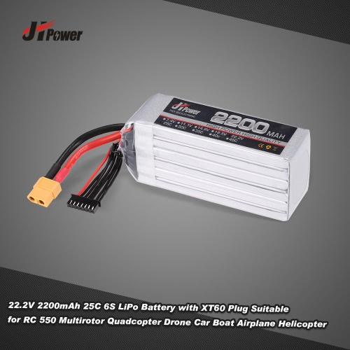 JHpower 22.2V 2200mAh 25C 6S LiPo Battery with XT60 Plug for RC 550 Multirotor Quadcopter Drone Car Boat Airplane Helicopter