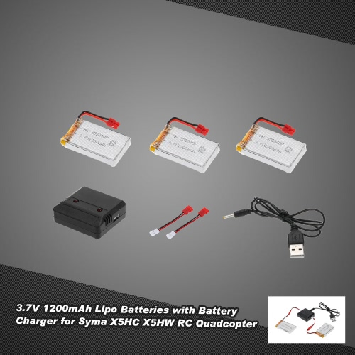 3pcs 3.7V 1200mah Lipo Batteries & 2 in 1 Battery Charger for Syma X5HC X5HW RC Quadcopter