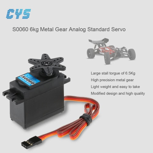 CYS S0060 6kg Metal Gear Analog Standard Servo for 1/10 Axial SCX10 Redcat RC Racing Car