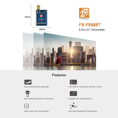 Исходный FX FX668T 600 мВт 5.8G 40-канальный беспроводной передатчик AV для передачи в реальном времени RC Drone FPV