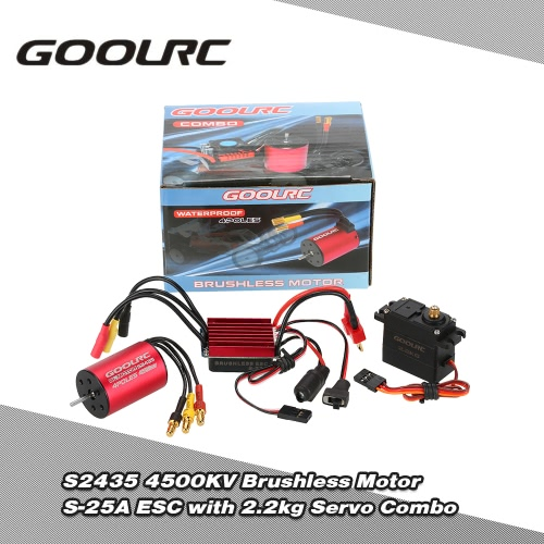 GoolRC S2435 4500KV Brushless Motor S-25A ESC mit 2,2kg Metal Gear Servo-Upgrade Brushless Combo Set für 1/16 1/18 RC Auto-LKW